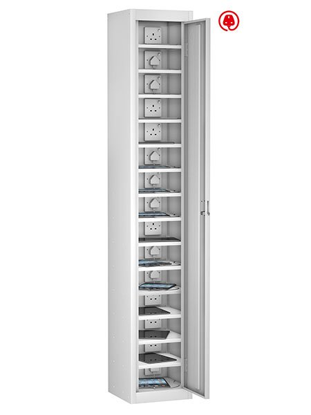 Probe 1 door with 10 compartment white tabbox charging locker