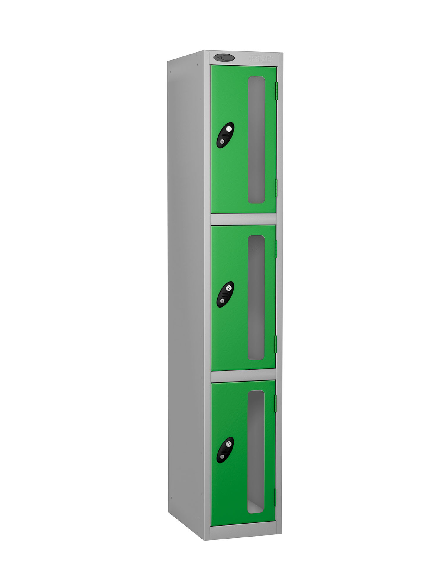 Probe 3 doors vision panel anti-stock theft locker green