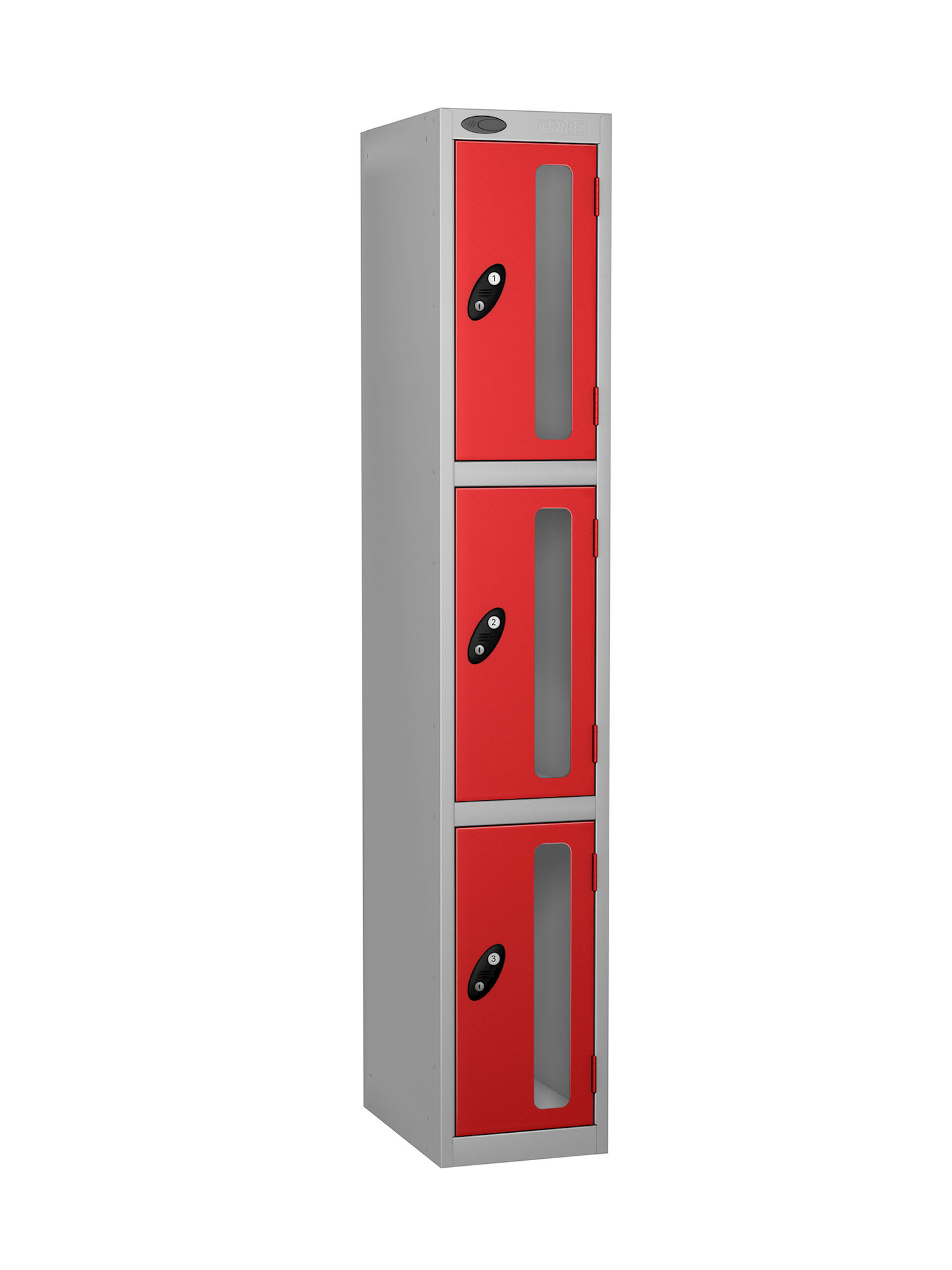 Probe 3 doors vision panel anti-stock theft locker red