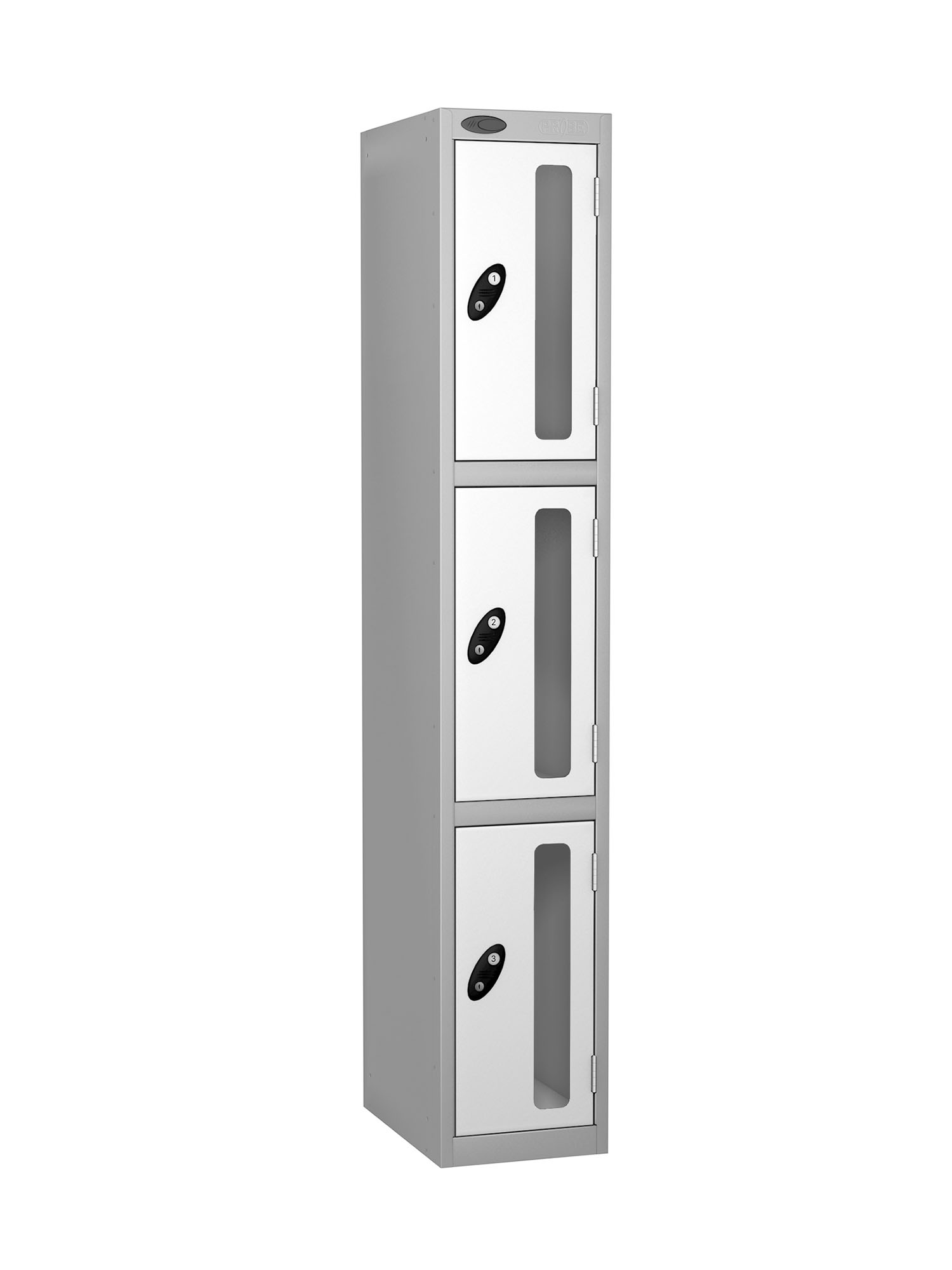 Probe 3 doors vision panel anti-stock theft locker white