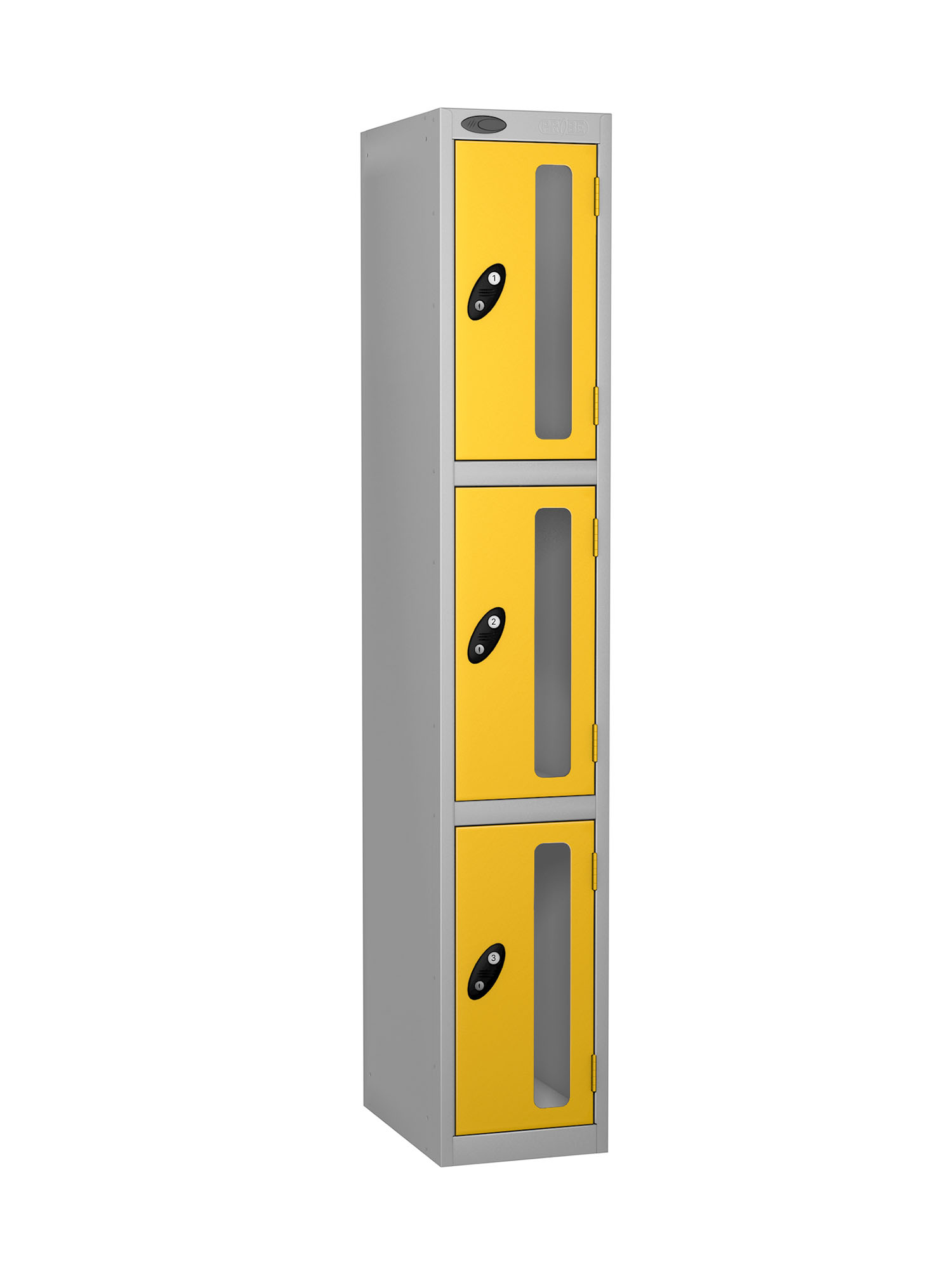 Probe 3 doors vision panel anti-stock theft locker yellow