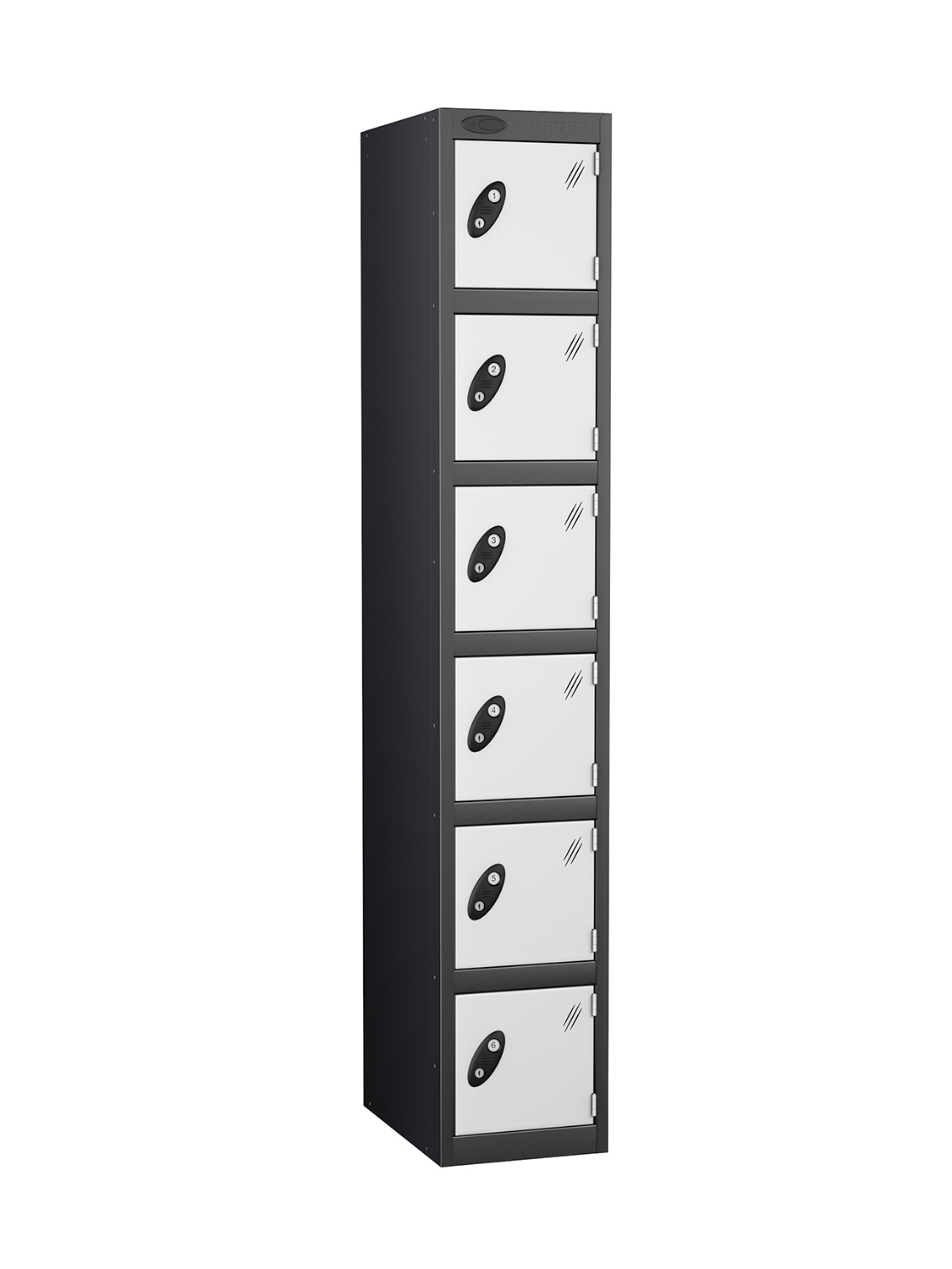 Probe 6 doors black body lockers in white