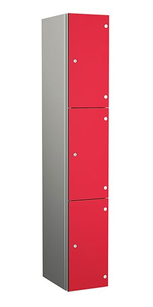 Probe aluminum locker 3 doors dark red