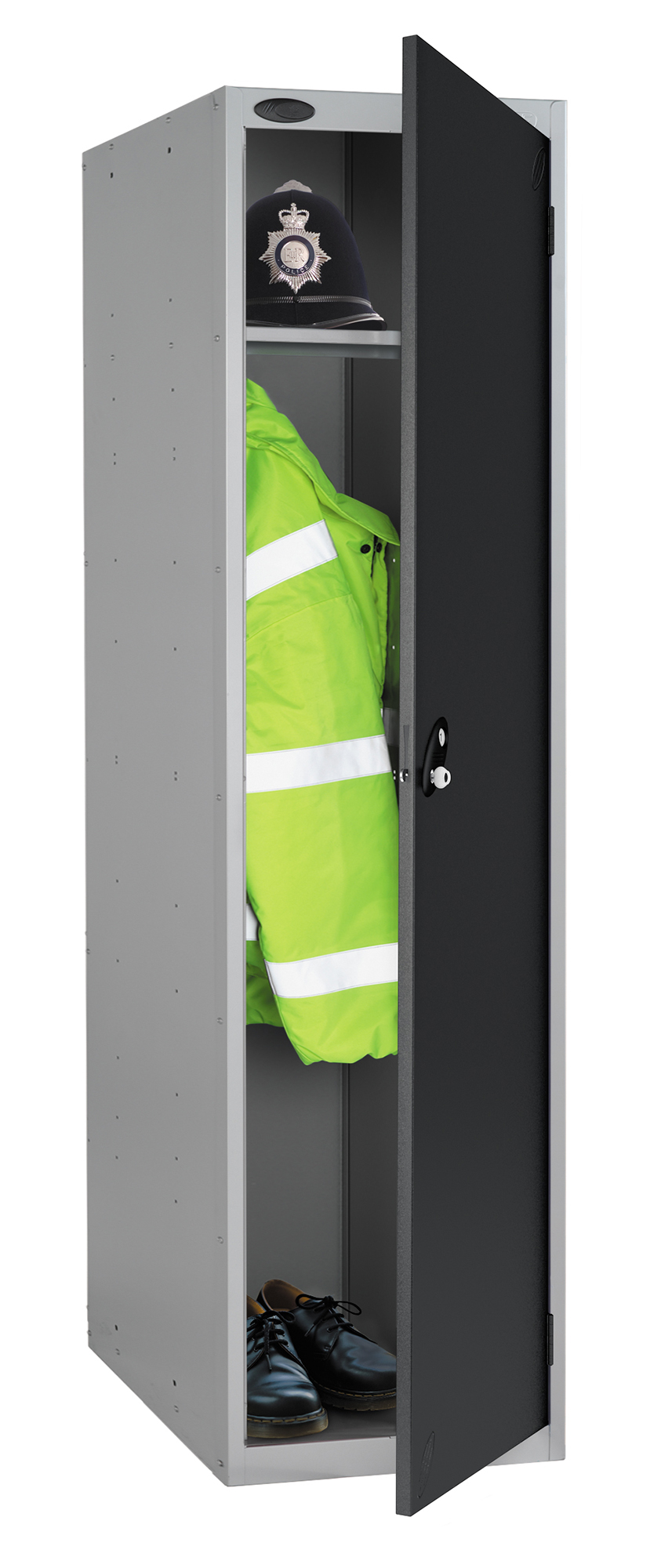 Probe high capacity police locker in black colour is designed to accommodate personal body armor