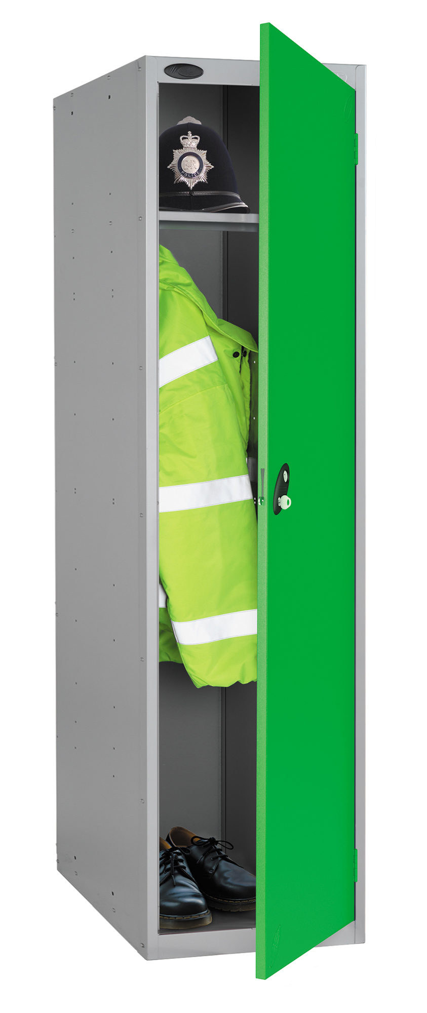 Probe high capacity police locker in green colour is designed to accommodate personal body armor