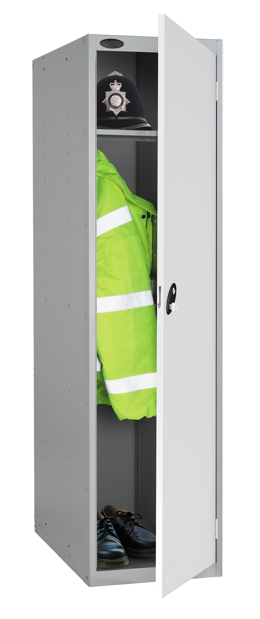 Probe high capacity police locker in white colour is designed to accommodate personal body armor