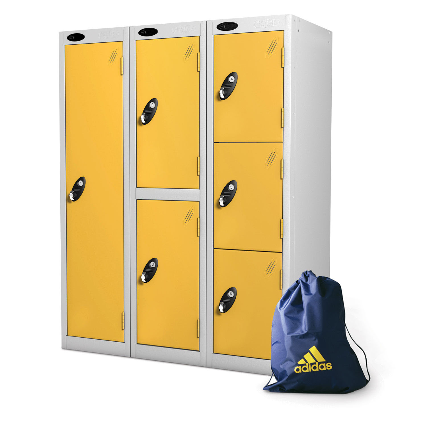 Probe 1,2,3 doors low locker in yellow colour for bags