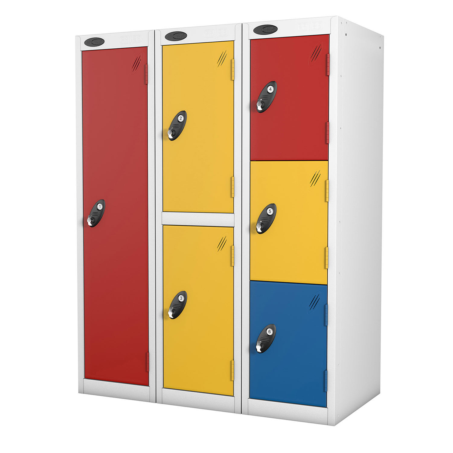 Probe 1,2,3 doors low locker in yellow, red and blue colours