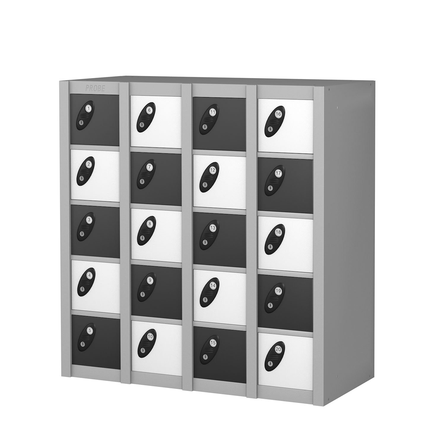 Probe 20 doors minibox lockers in black and white colour