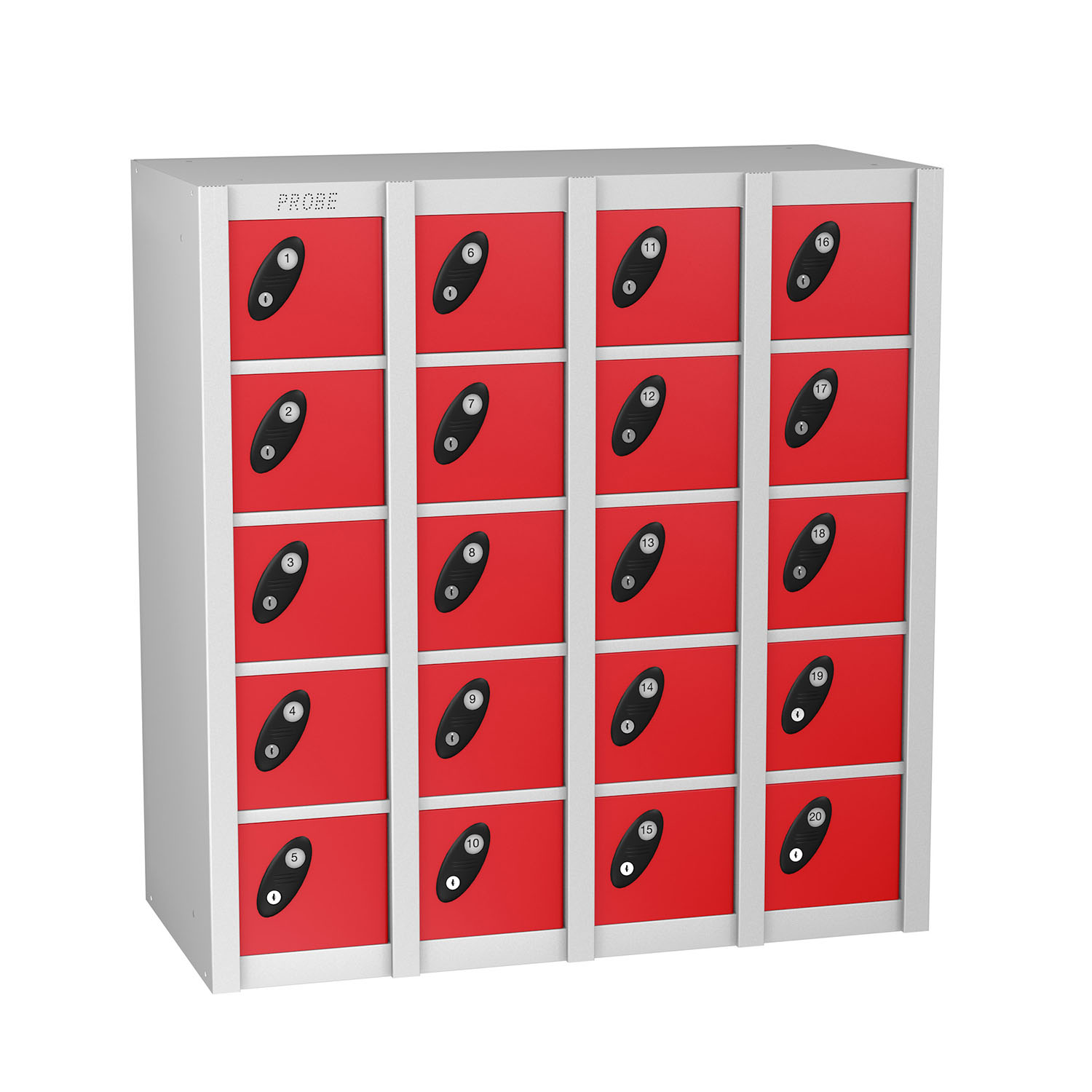 Probe 20 doors minibox lockers in red colour