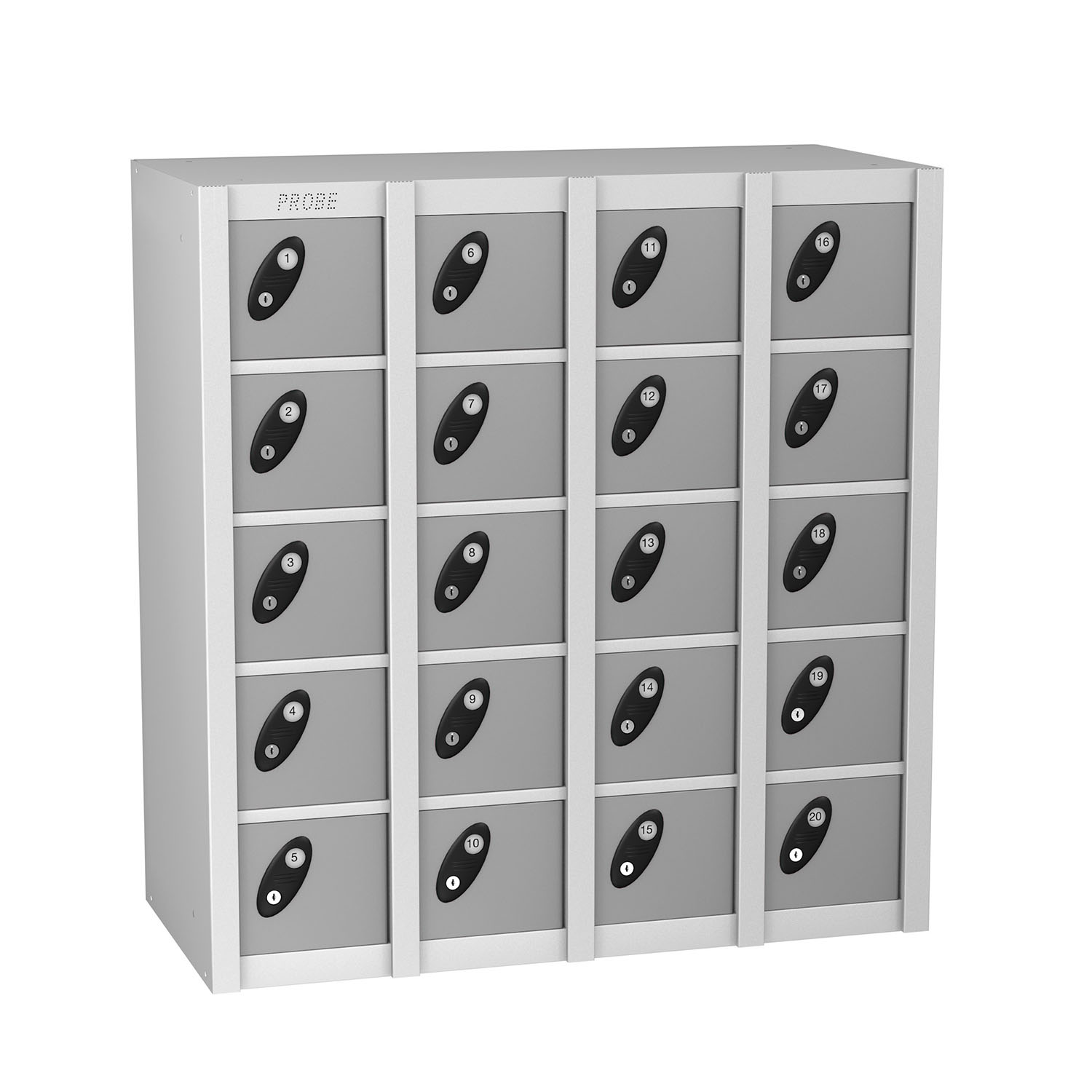 Probe 20 doors minibox lockers in silver colour