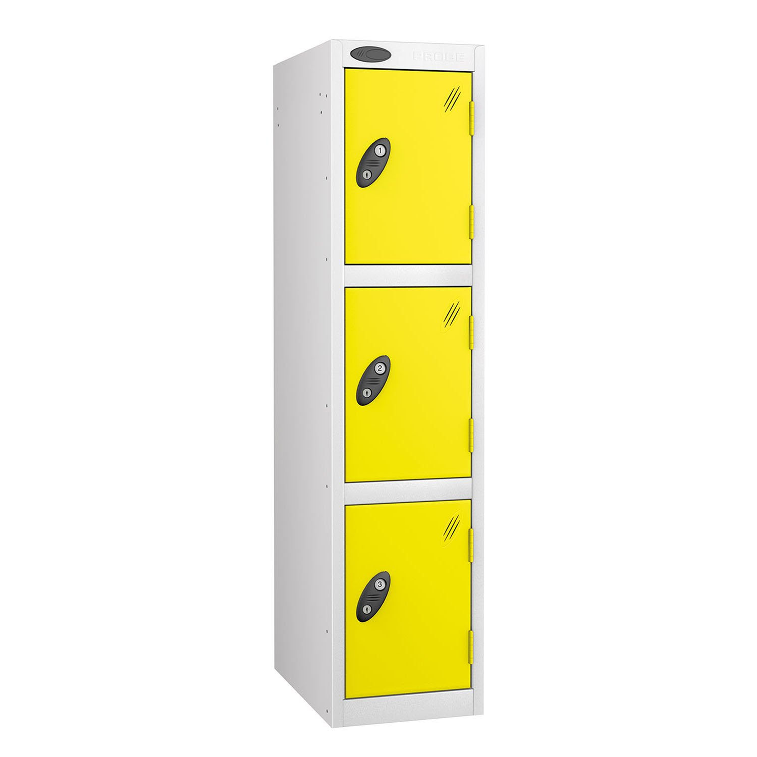 Probe 3 doors junior low locker in white-lemon colour