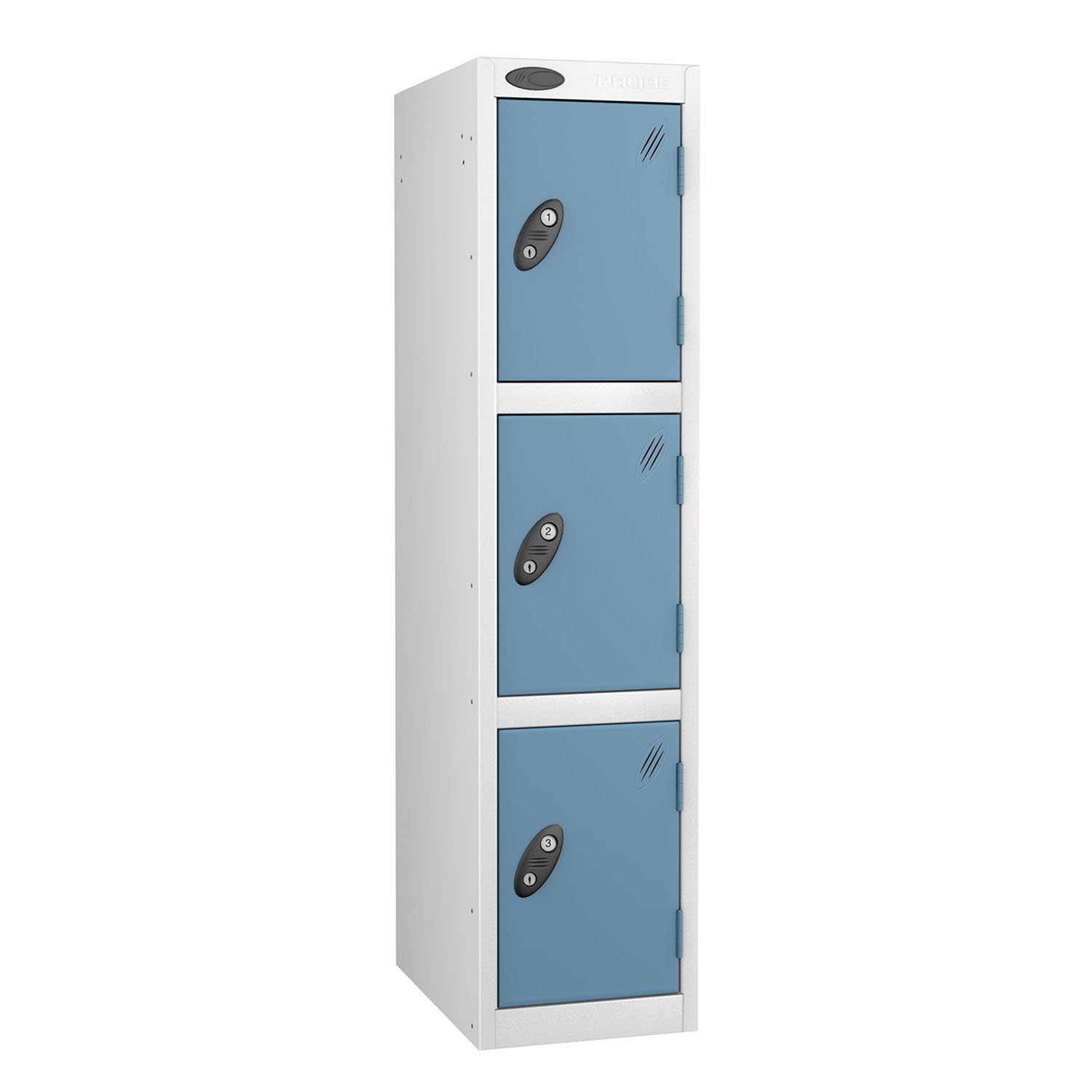 Probe 3 doors junior low locker in white-ocean colour
