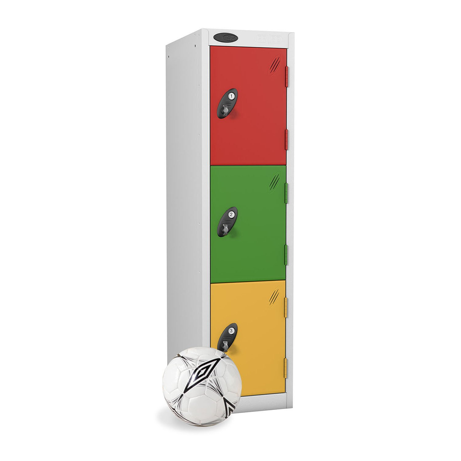 Probe 3 doors low locker in red, green and yellow colour