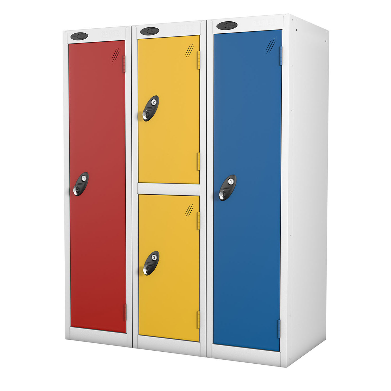 Probe 4 doors low locker in yellow, red and blue colours