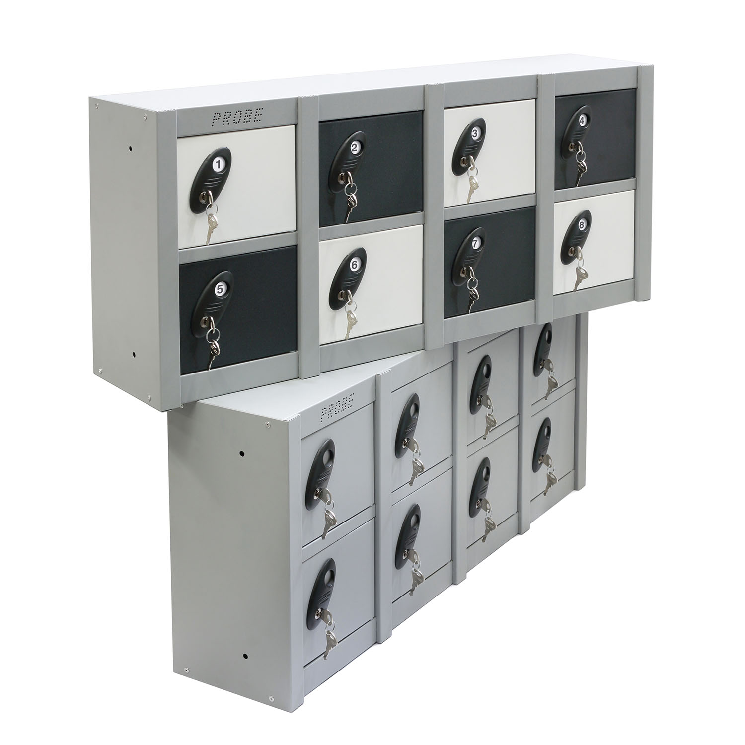 Probe 8 doors minibox lockers in black and white colour