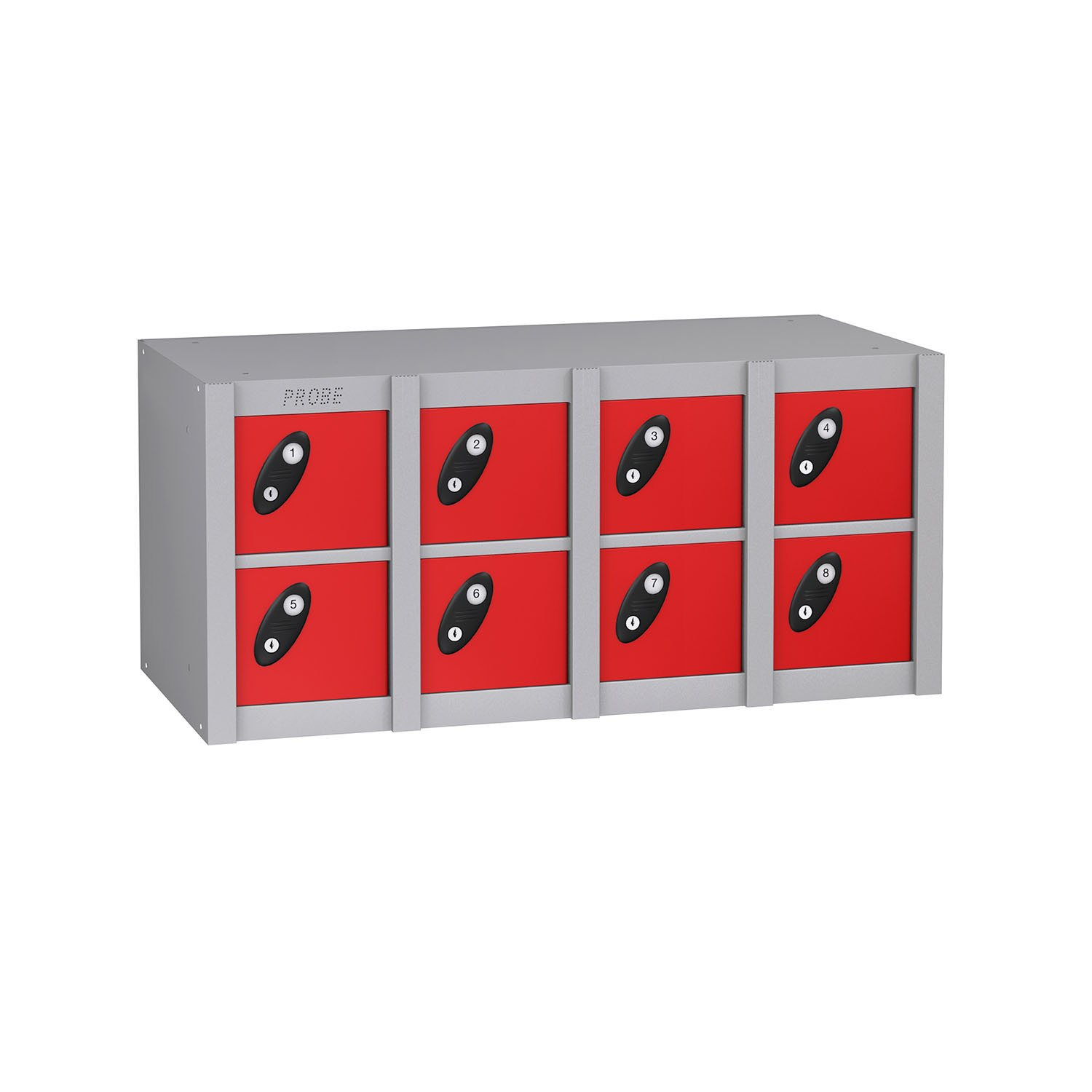 Probe 8 doors minibox lockers in red colour