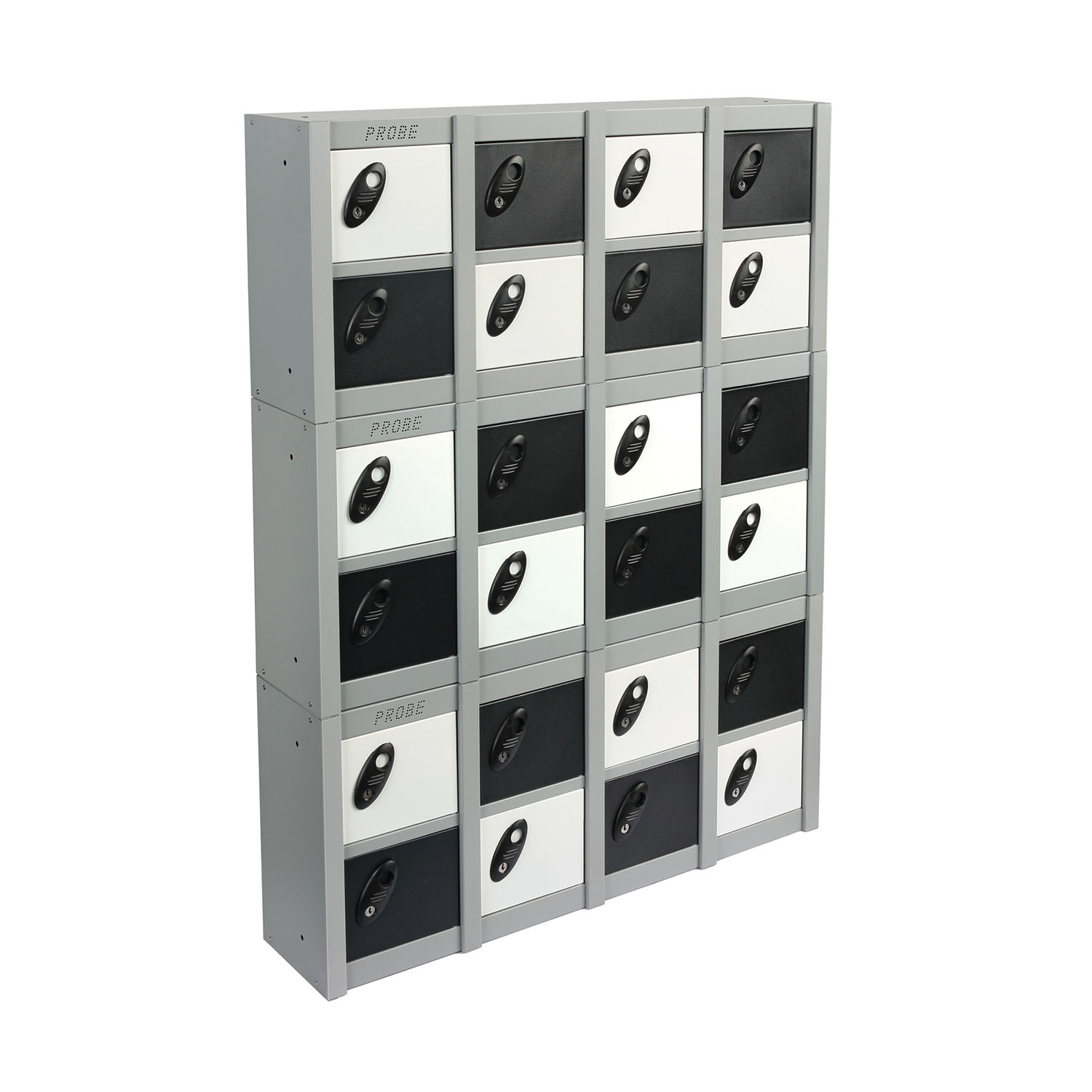 Probe 8 doors minibox wall mounted lockers in black and white colour