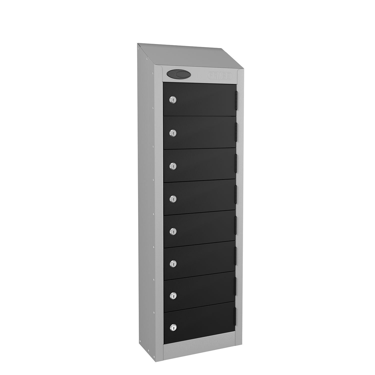 Probe 8 doors small compartment personal locker in black colour