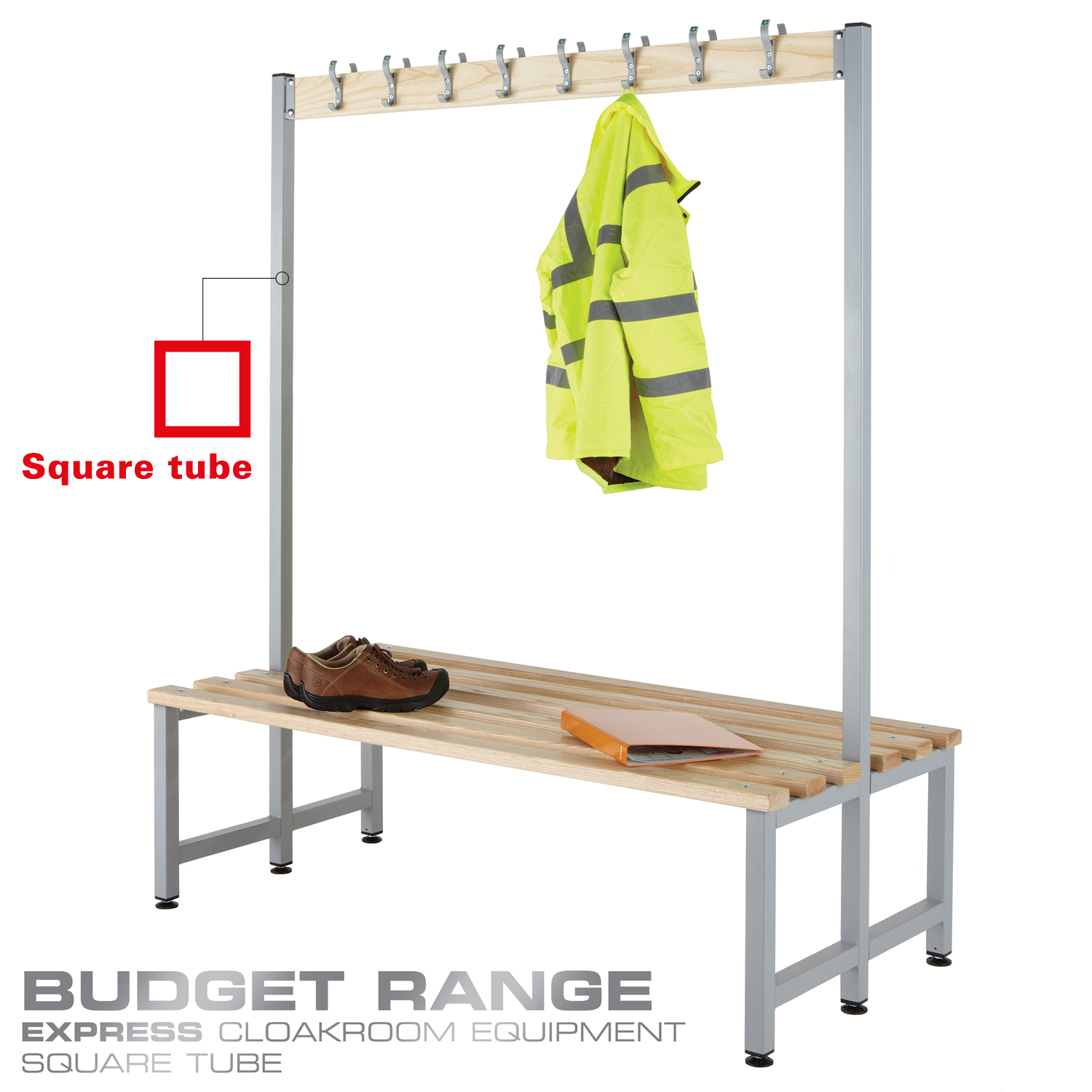 Probe cloakroom wood bench double sided with hooks in your budget range