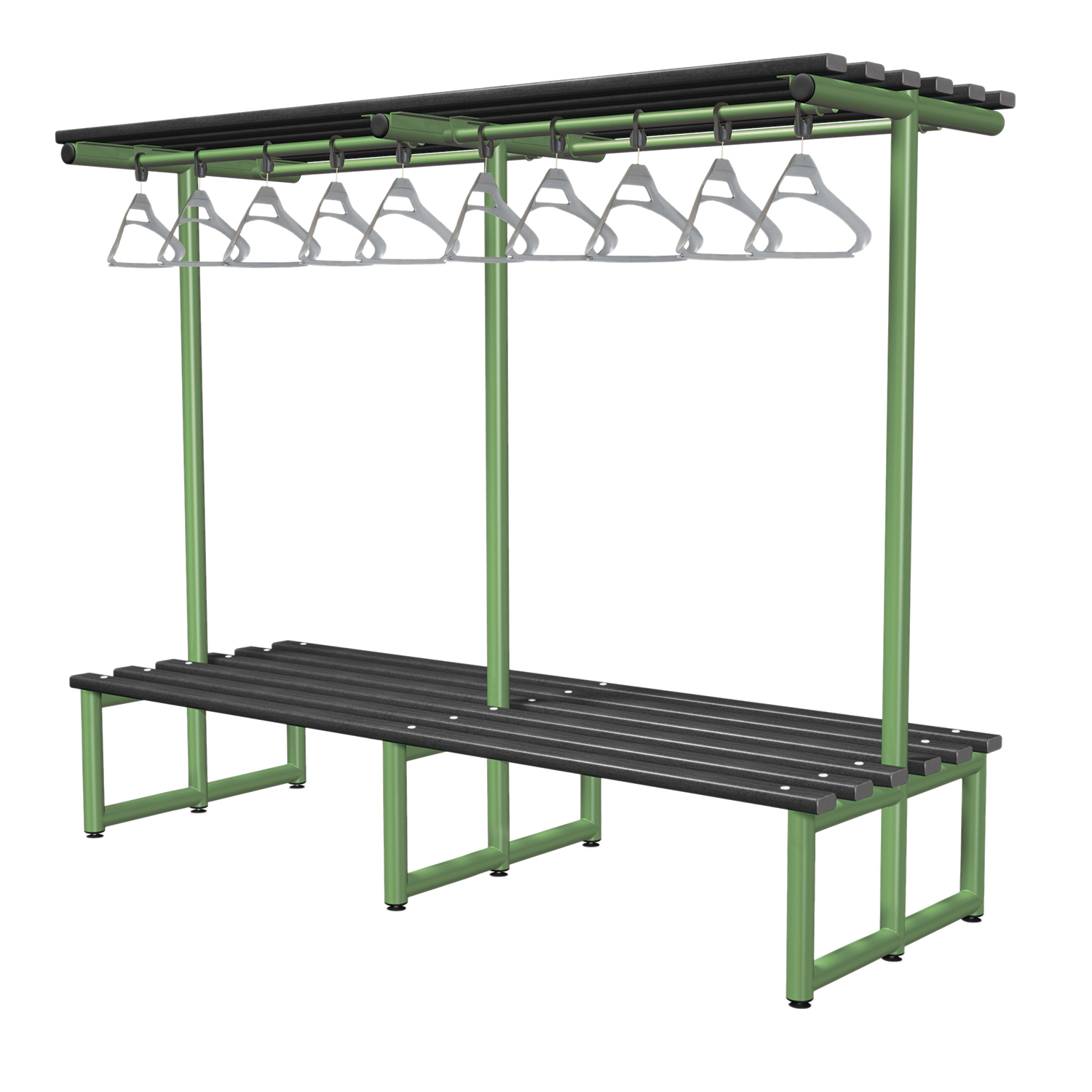 Probe cloakroom overhead hanging bench polymer