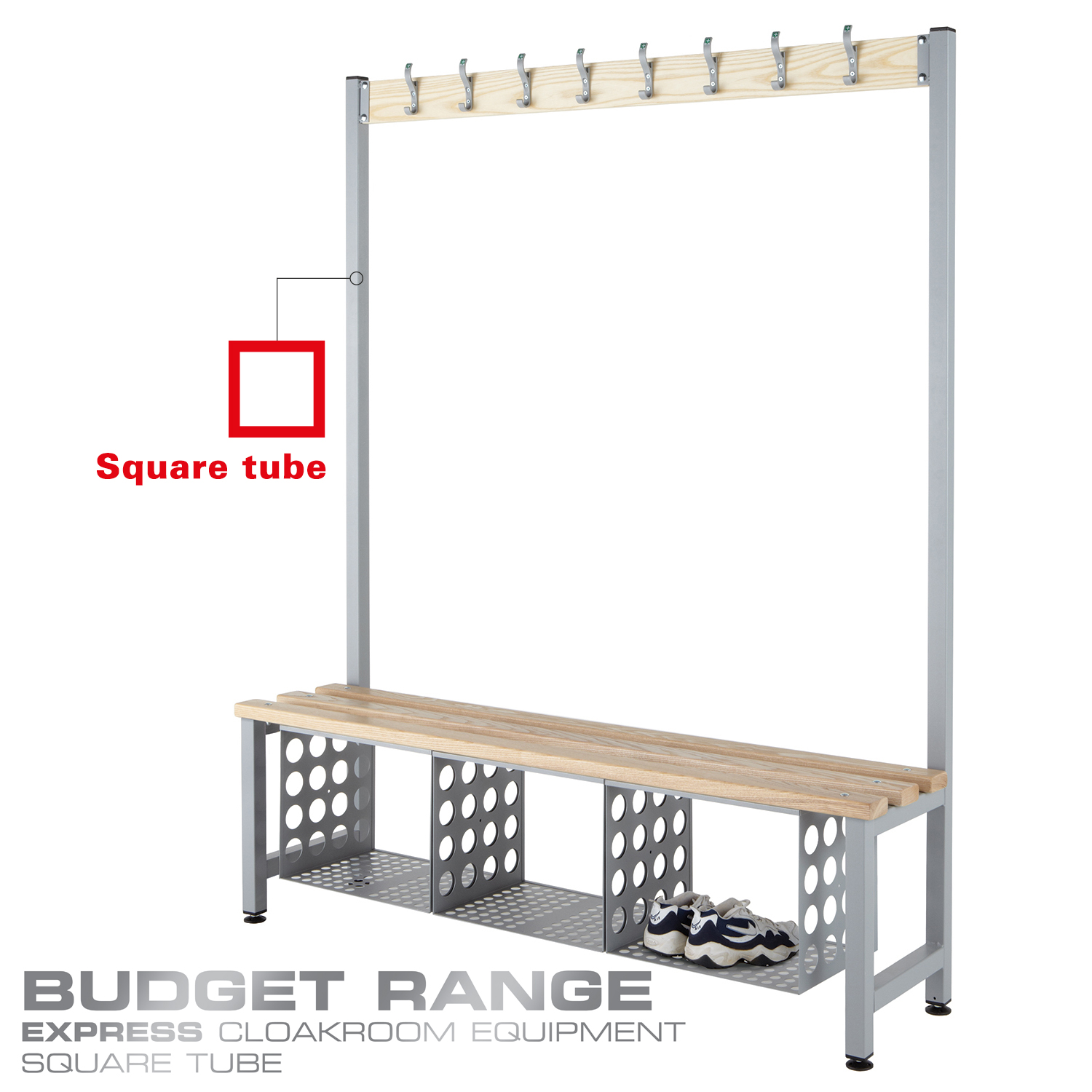 Probe cloakroom budget wood bench with basket single sided