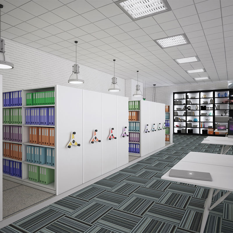 Files in white rack of probe kinetic mobile shelving
