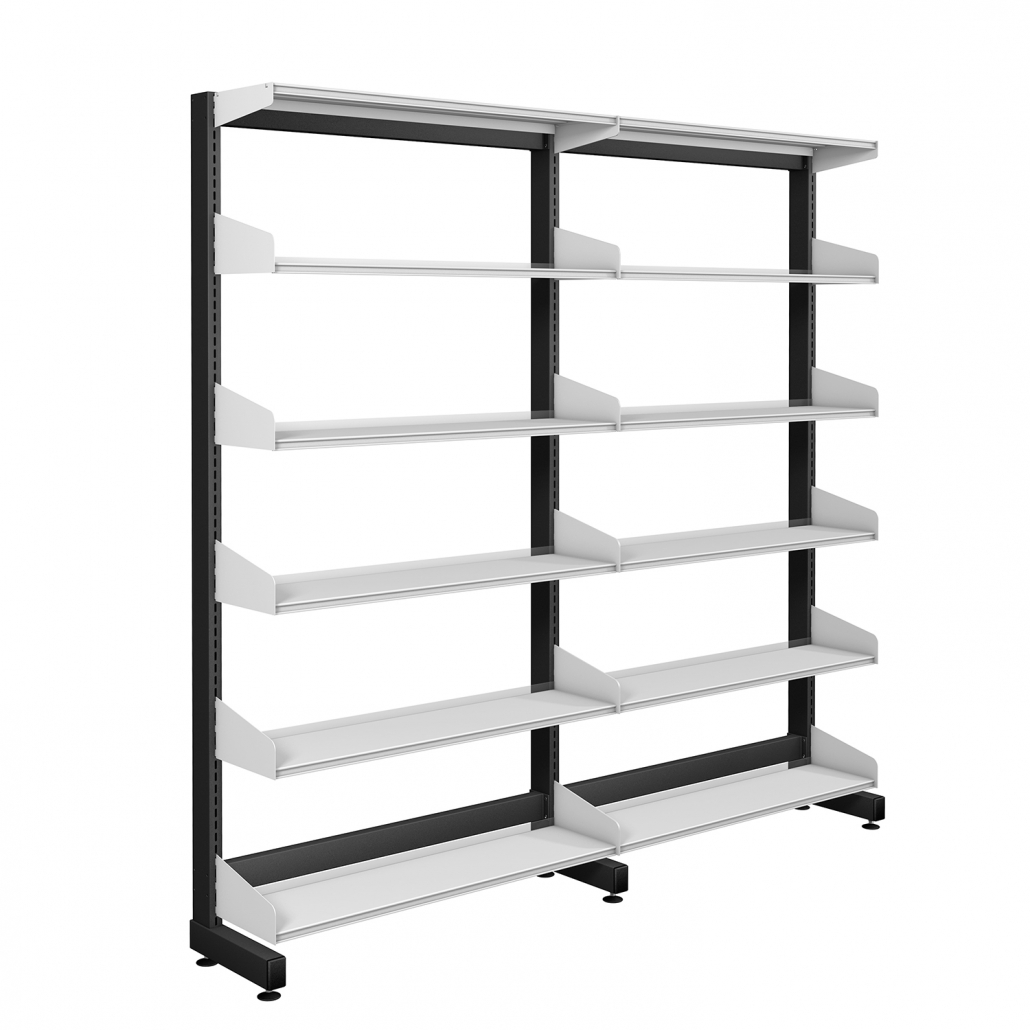 Probe technic library black frame and white shelving