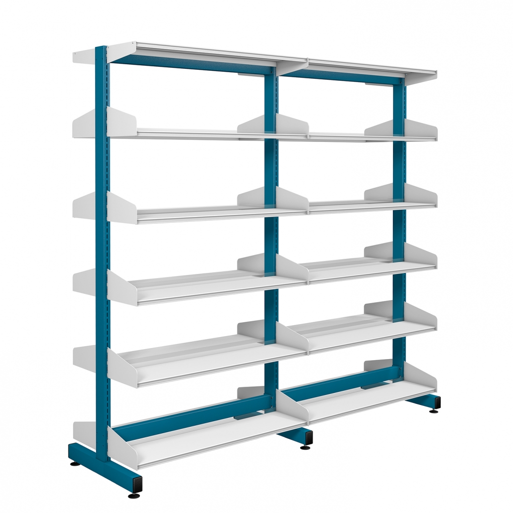 Probe technic library blue and white division shelving