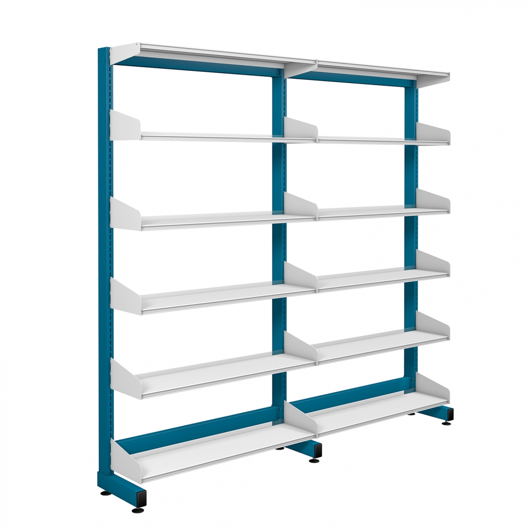 Probe technic library blue frame and white shelving