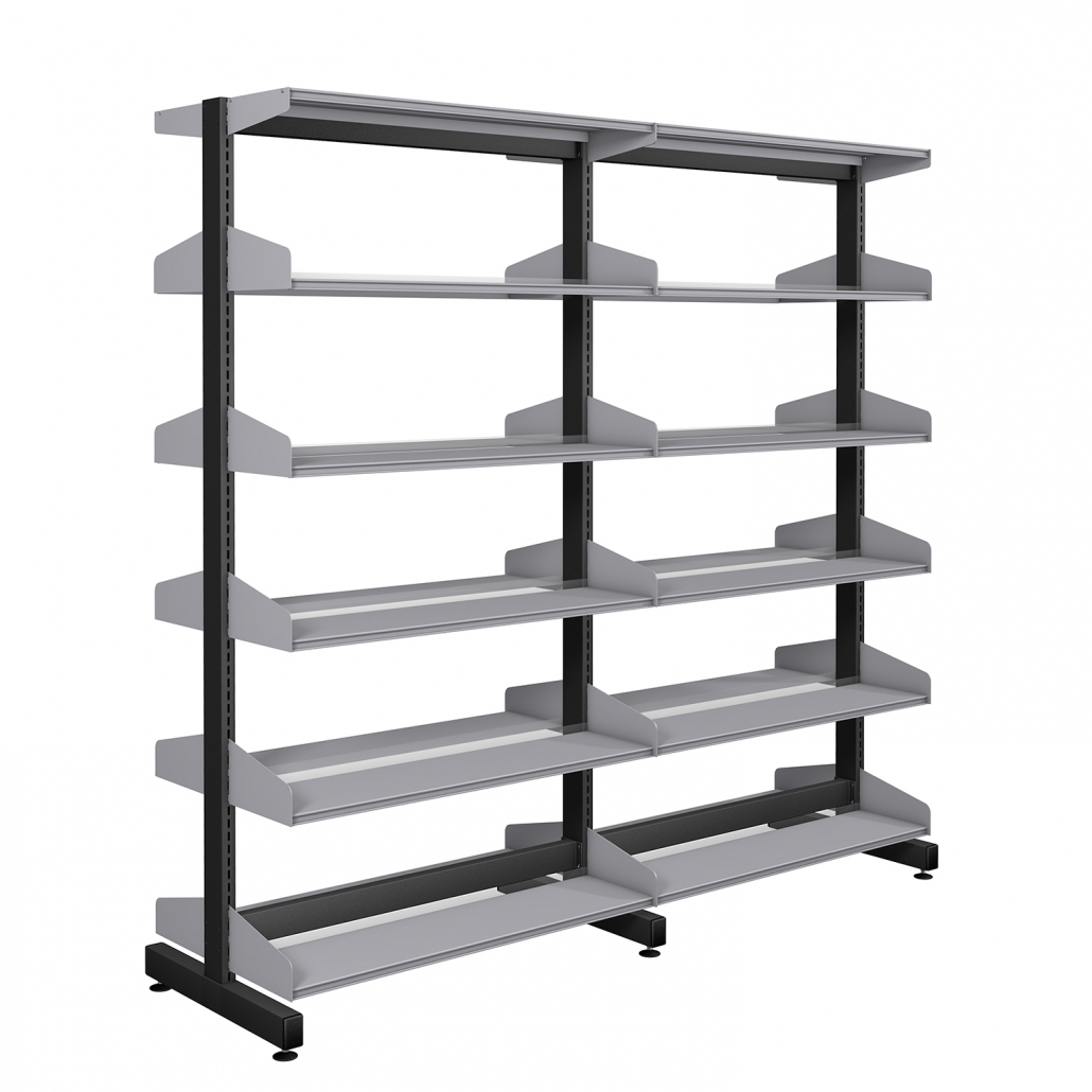 Probe technic library shelving with grey division