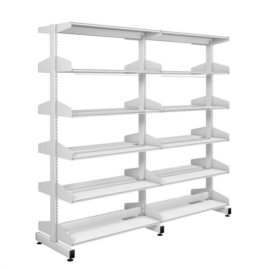 Probe technic library white frame and division shelving