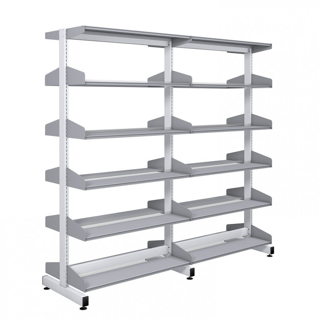 Probe technic library white frame and silver shelving