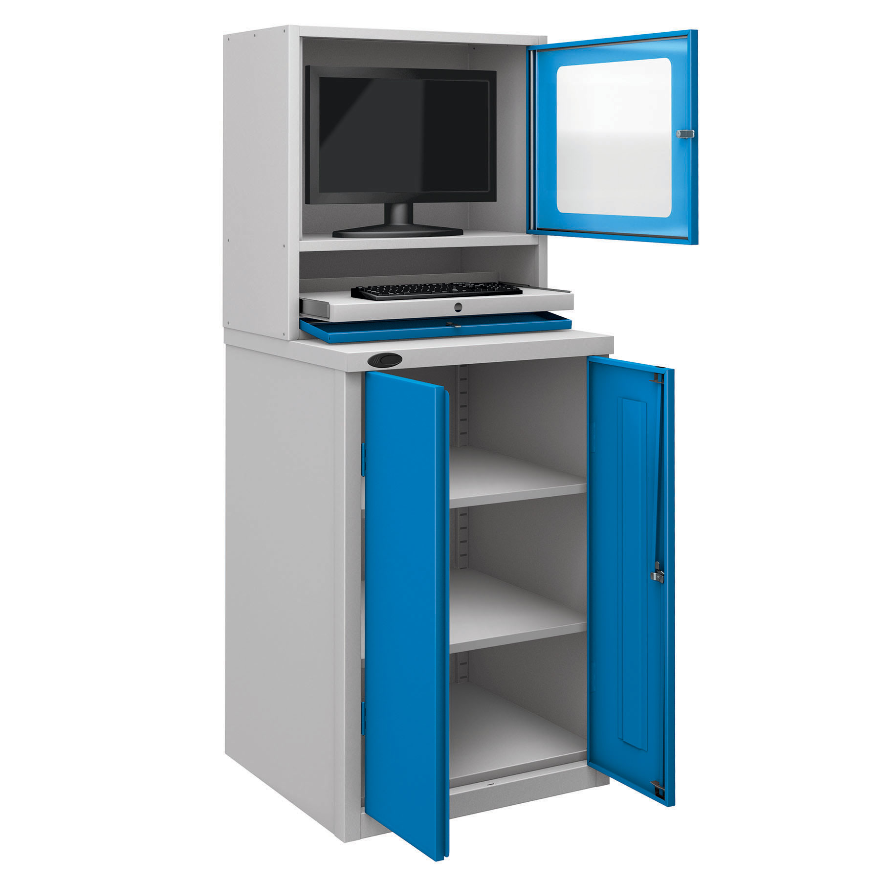 Probe workstation base monitor cupboard blue