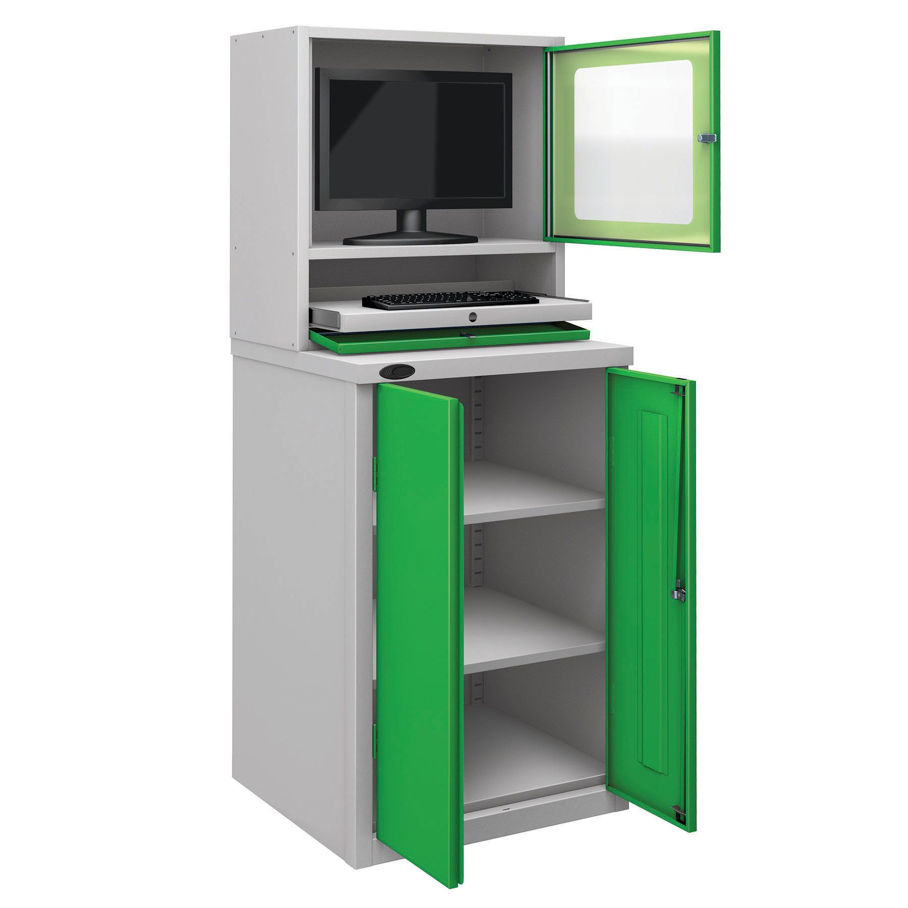Probe workstation base monitor cupboard green
