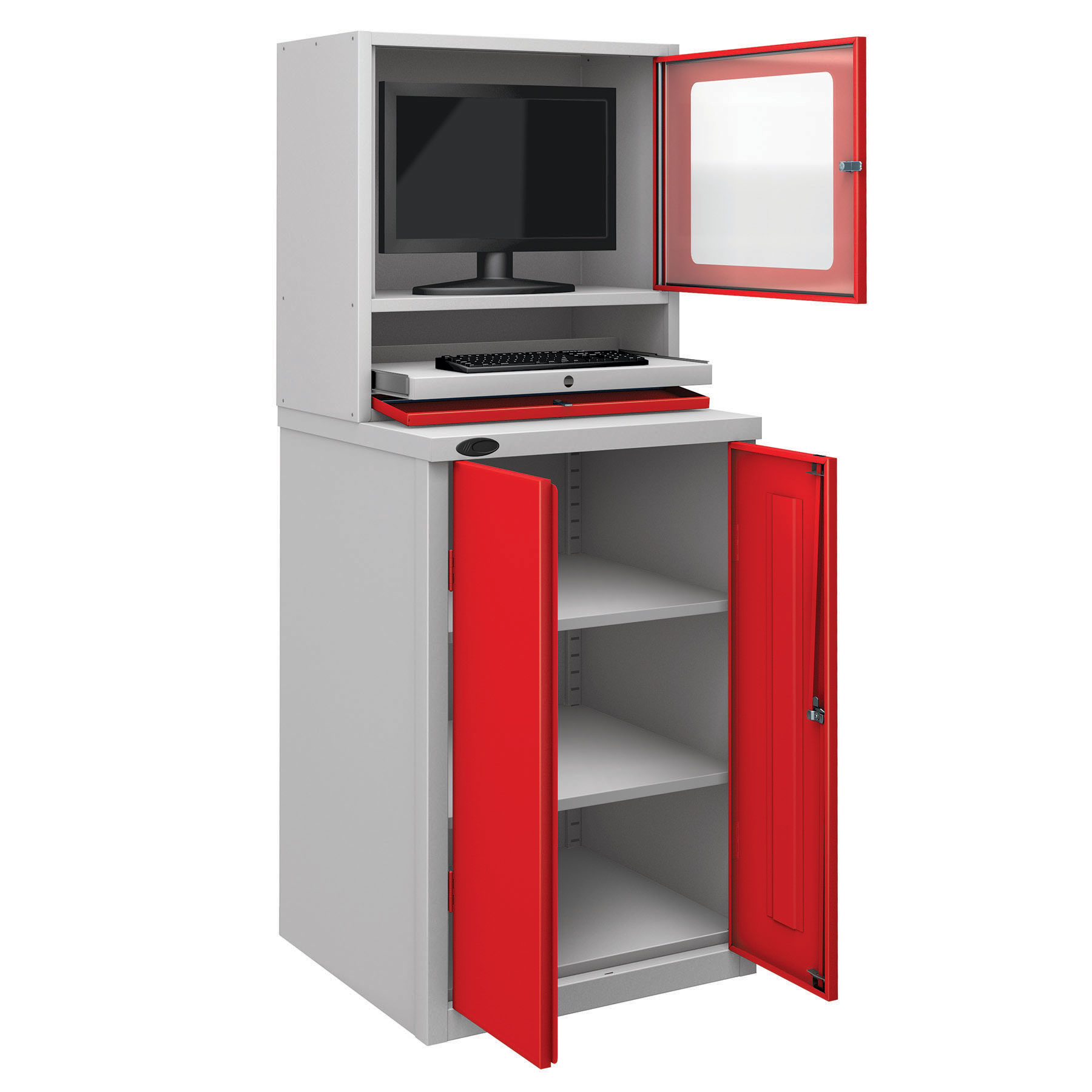 Probe workstation base monitor cupboard red