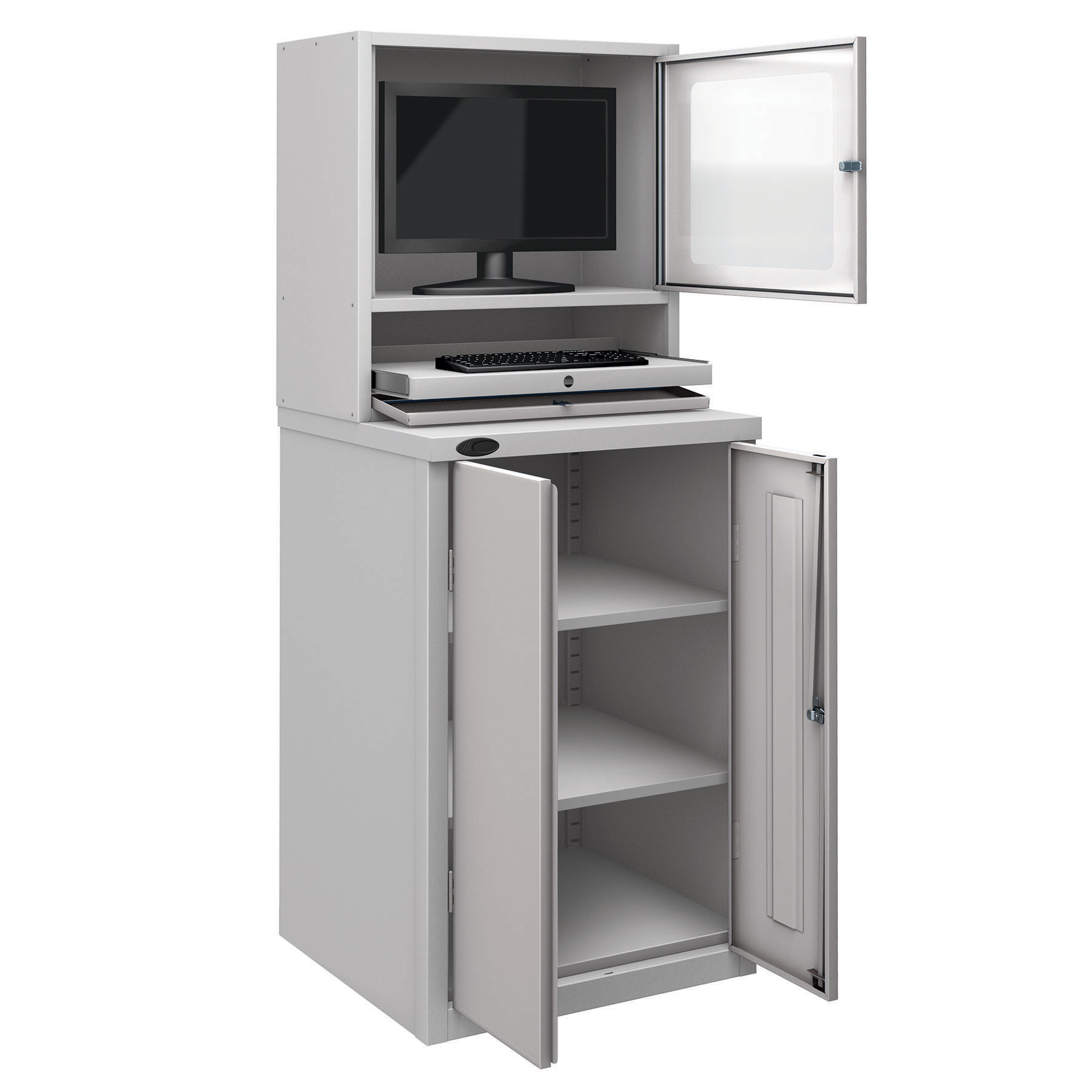 Probe workstation base monitor cupboard silver