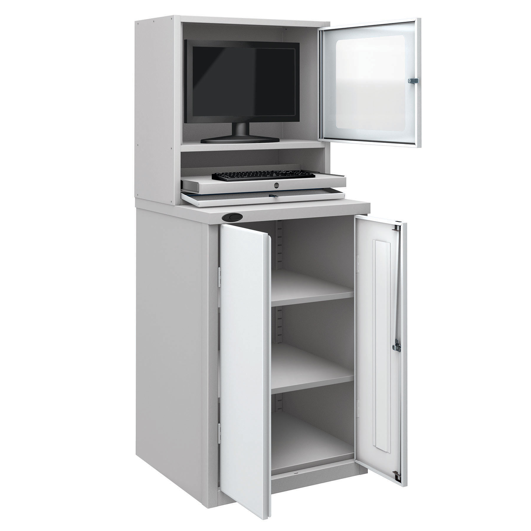 Probe workstation base monitor cupboard white