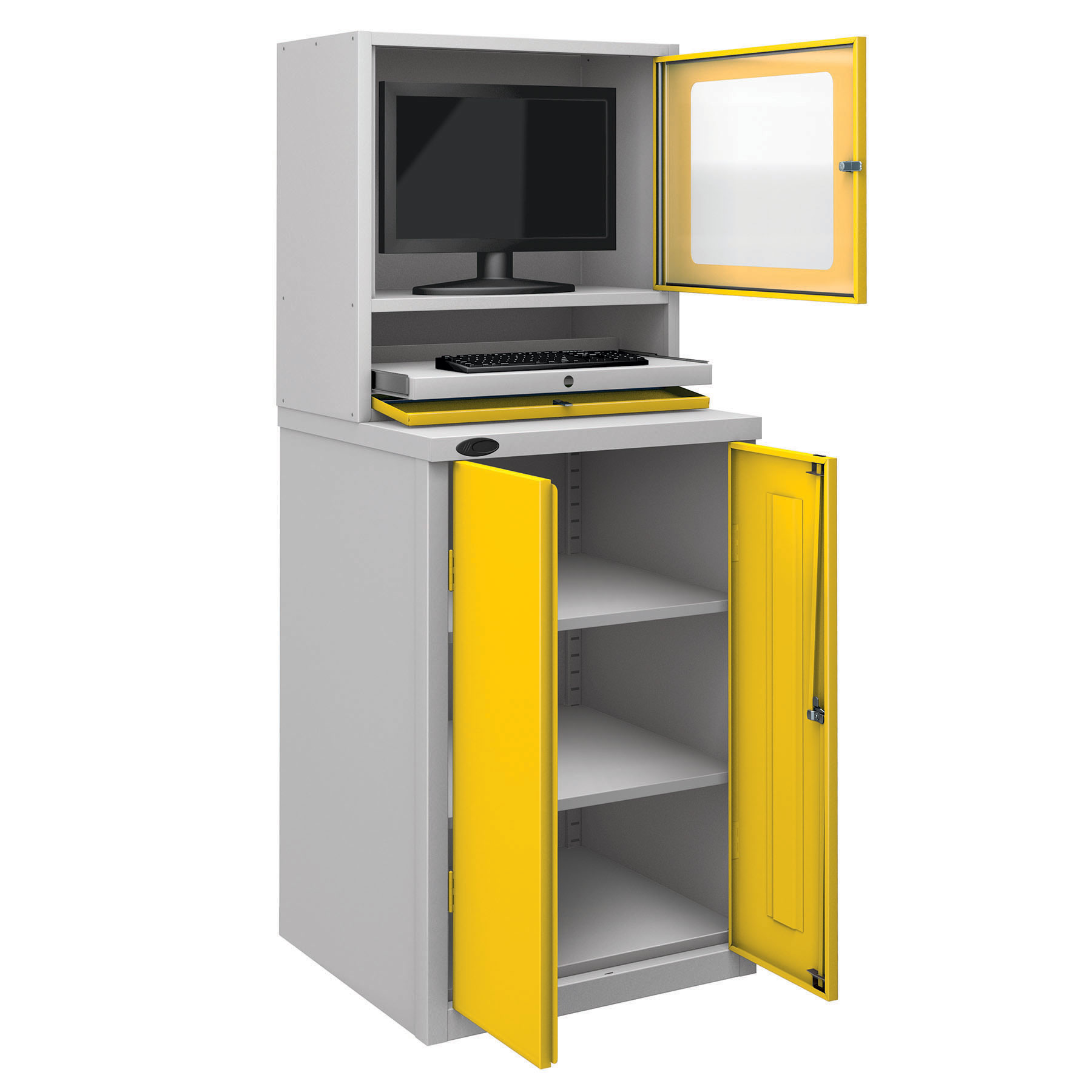 Probe workstation base monitor cupboard yellow