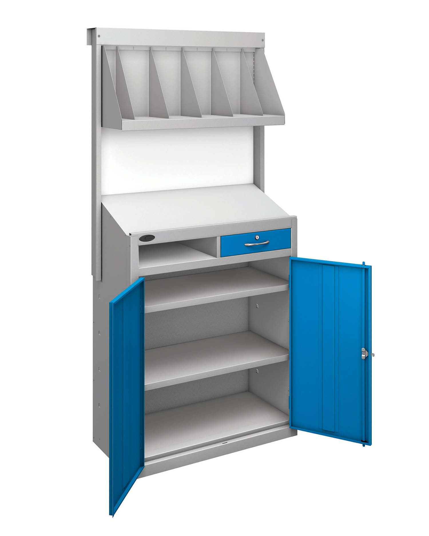 Probe workstation bookshelf blue