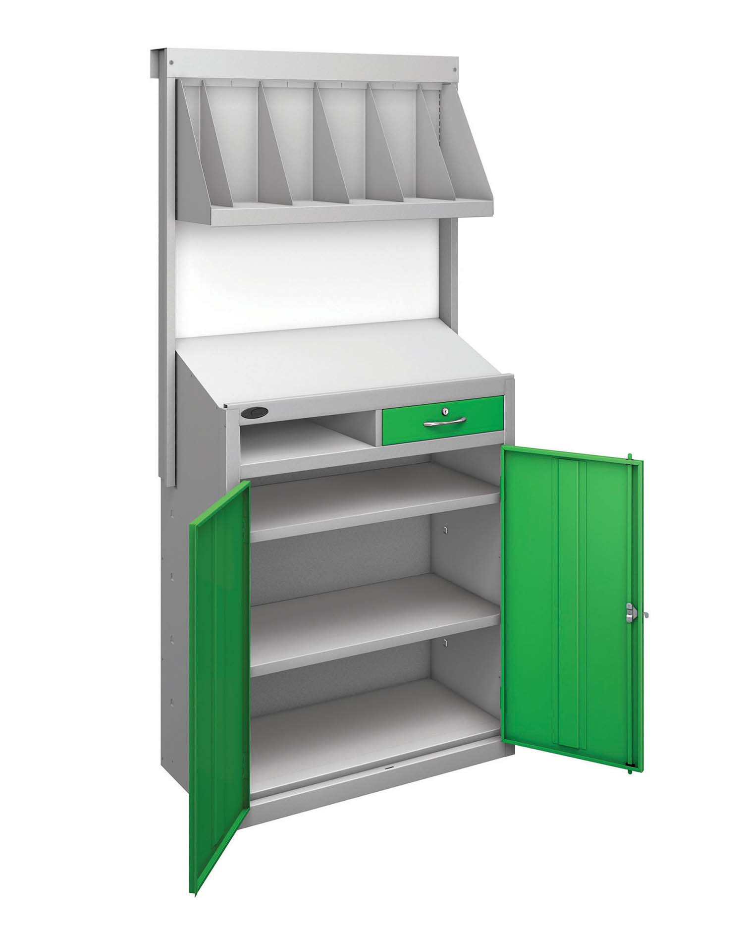 Probe workstation bookshelf green