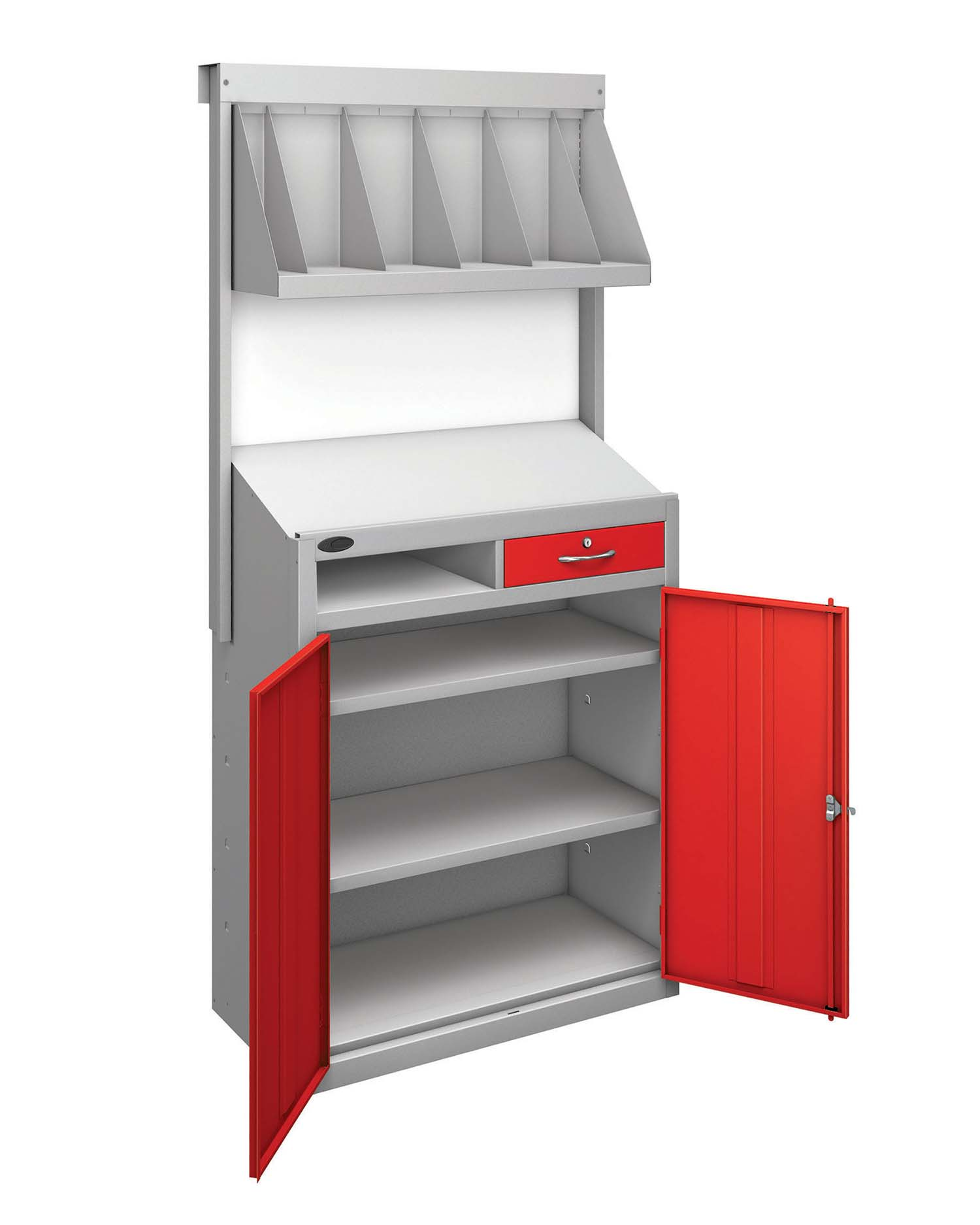 Probe workstation bookshelf red