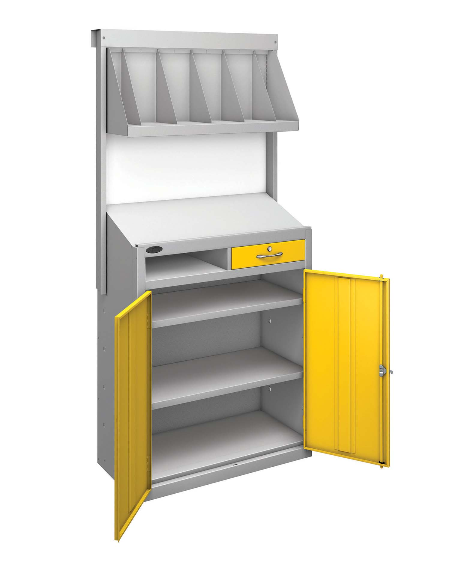 Probe workstation bookshelf yellow