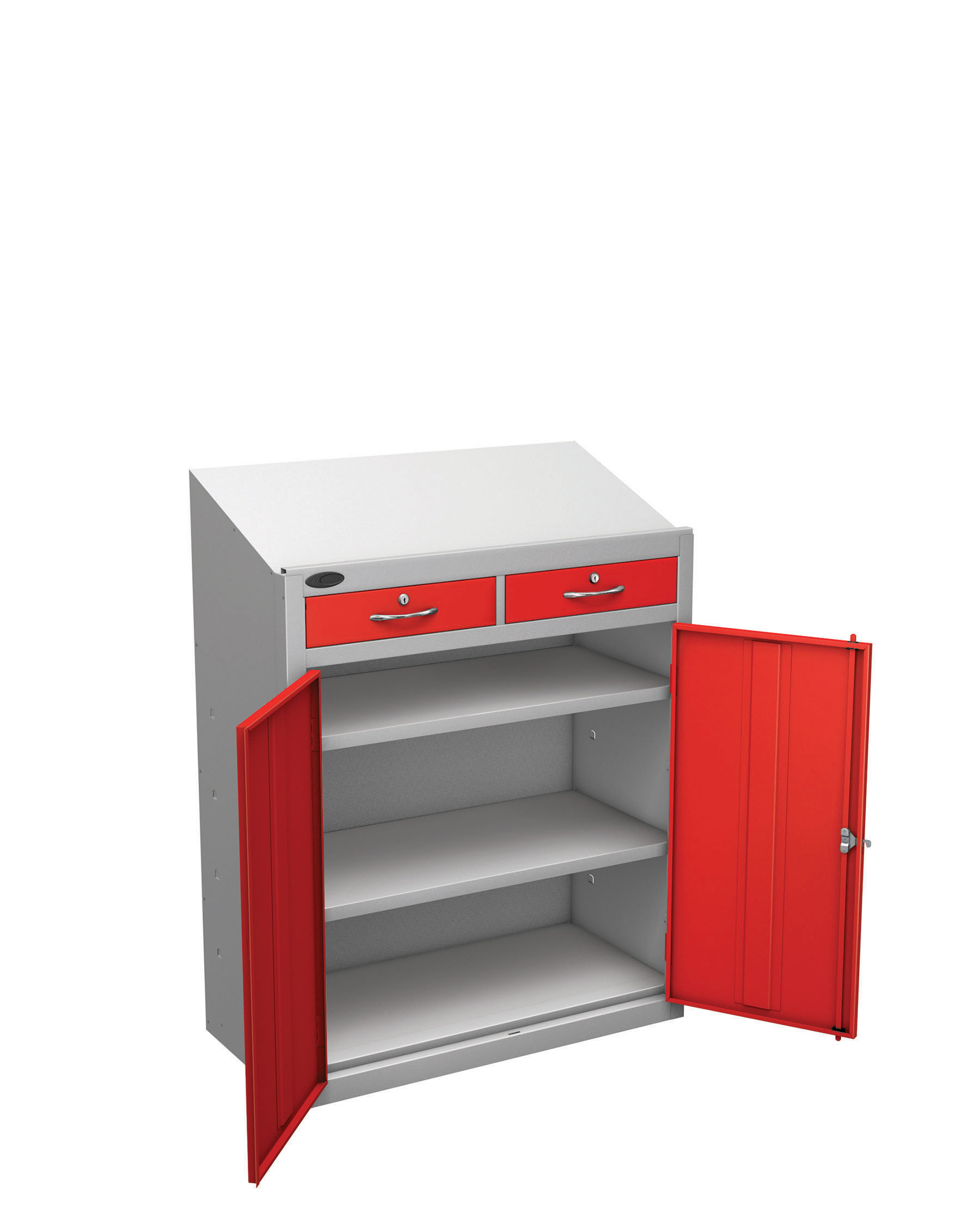 Probe workstation slope drawer red