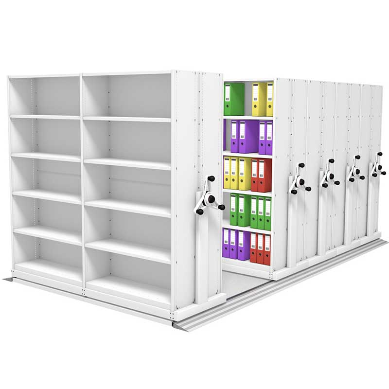 White end panel and racks in proble kinetic mobile shelving